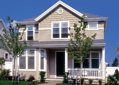 See new insulated siding with beautiful shake accents and all new trim!